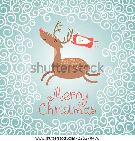 Merry Christmas greeting card with a deer and Santa Claus in winter. Vector illustration. - stock vector