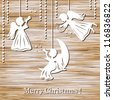 Merry Christmas Greeting Card with Angels on a wood background - stock photo