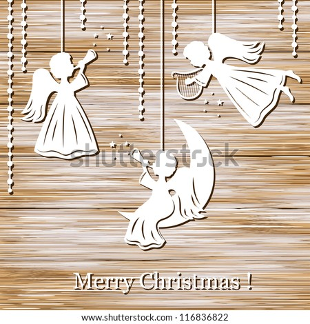 Merry Christmas Greeting Card with Angels on a wood background - stock vector