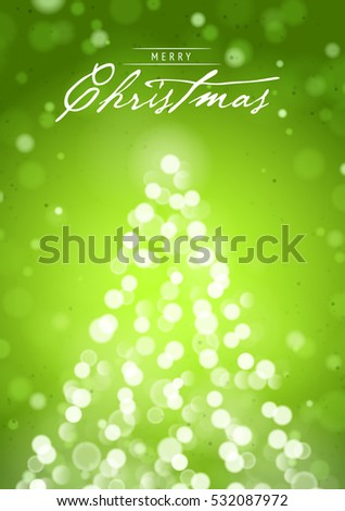 Merry Christmas Greeting Card With Blurred Lights Of Tree And Vertical Shine Green Background