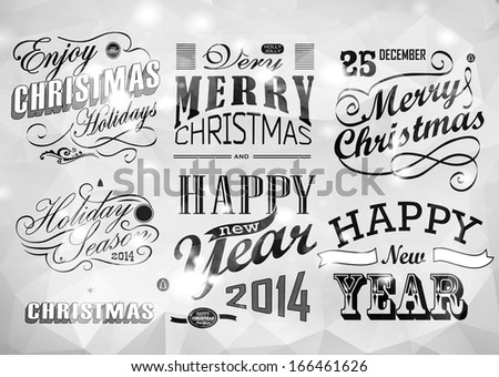 Merry Christmas greeting card with calligraphy elements. Vector set - stock vector