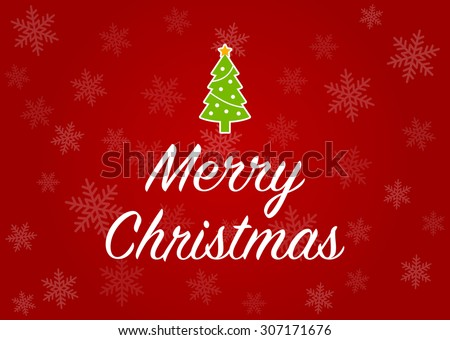 Merry Christmas greeting card with Christmas tree in red snowflake background - stock vector