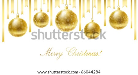 Merry Christmas greeting card with golden balls and ribbons. - stock vector