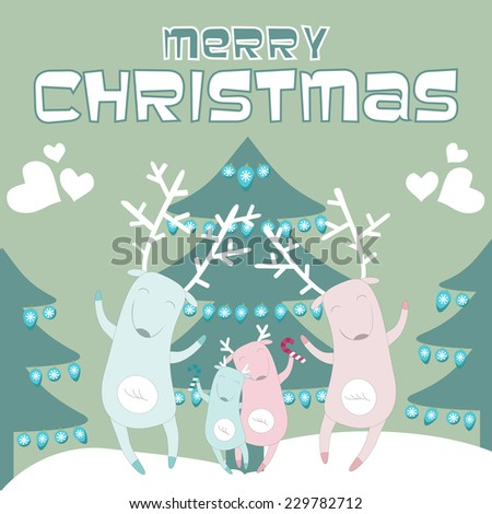 Merry Christmas greeting card with happy deer family. Vector illustration. - stock vector