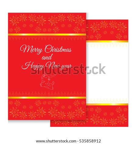 Merry Christmas Greeting Card With Red And Golden ColorProcessing Special Color Screening Or