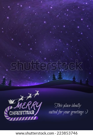 Merry Christmas greeting card with shiny stars and stardust in night skies, xmas tree forest and flying santa.  Vector Illustration for artwork, party flyers, posters. - stock vector