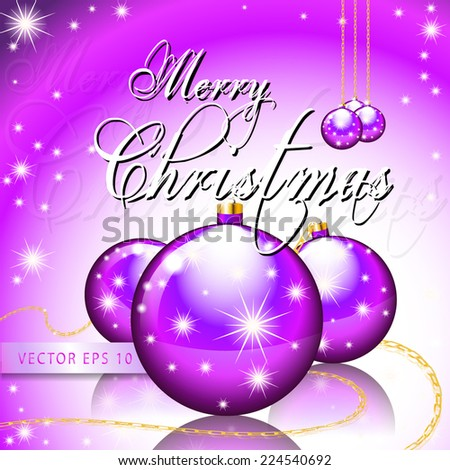 Merry Christmas greeting card with Xmas balls and shining stars - layout template vector eps10 - stock vector