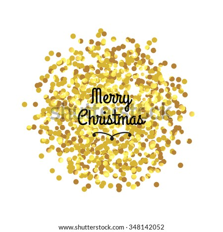 Merry Christmas greeting on the gold sparkle glitter vector background , isolated .