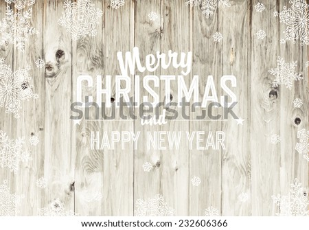 Merry Christmas Greeting On Wooden Fence Texture - stock vector