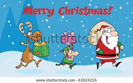Merry Christmas Greeting With Santa Claus,Elf and Reindeer Runs With Gifts - stock vector
