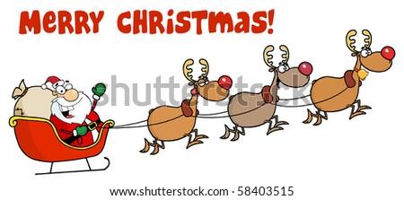 Merry Christmas Greeting Santa Sleigh Reindeer Stock Vector ...