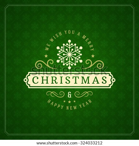 Merry Christmas Greetings Card or Poster Design. Textured paper vector background and retro typography holidays wishes. - stock vector