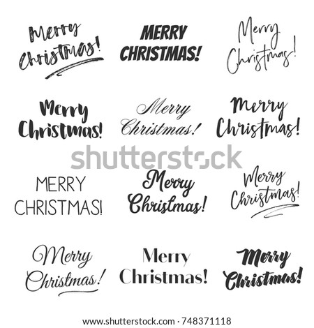 Merry christmas greetings vector overlay set stock vector 2018 merry christmas greetings vector overlay set hand lettering collection of various fonts black and m4hsunfo