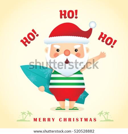 Merry christmas greetings cute cartoon santa stock vector hd merry christmas greetings with cute cartoon santa claus wearing tank top short pants slippers m4hsunfo
