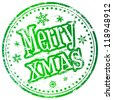 Merry christmas grungy rubber stamp vector illustration - stock vector