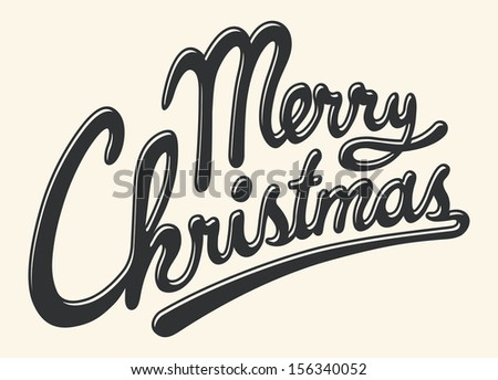 MERRY CHRISTMAS hand lettering greeting - stock vector