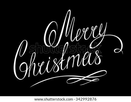 MERRY CHRISTMAS hand lettering - handmade calligraphy, eps10 - stock vector