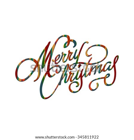 Merry Christmas hand lettering. Holiday Vector Illustration. - stock vector