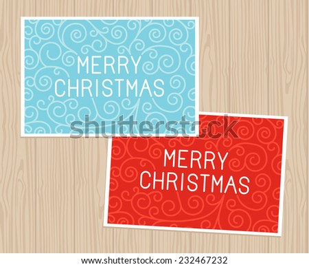 Merry christmas hand lettering in outline style - greeting card with decorative typography and line flourishes on blue wooden background - stock vector