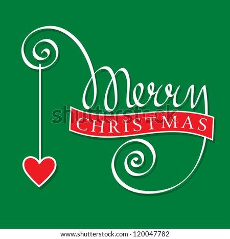 merry christmas hand lettering with heart - stock vector