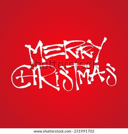 Merry Christmas Hand Written Custom Brush Pen Calligraphy - stock vector