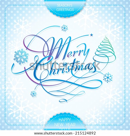 Merry Christmas handwriting calligraphy lettering season's greeting design. Vector. - stock vector