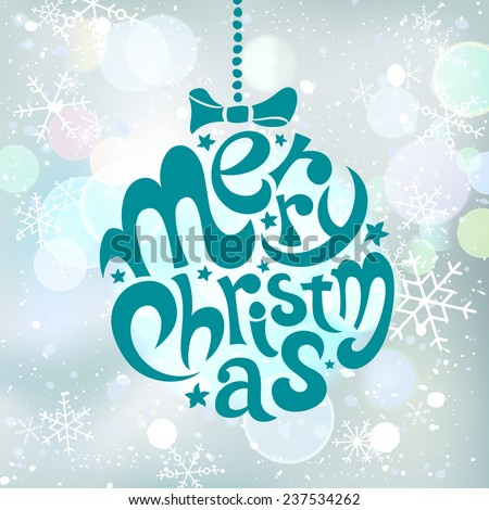 Merry Christmas handwriting lettering on abstract background with snowflakes and bokeh effect. Vector illustration. - stock vector