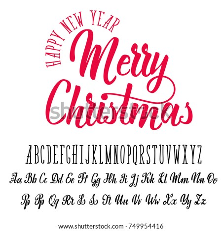 Merry Christmas, handwritten latin alphabet, can be used for anything.