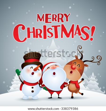 Merry Christmas! Happy Christmas companions. - stock vector
