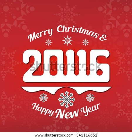 Merry Christmas & Happy new year 2016 - stock vector