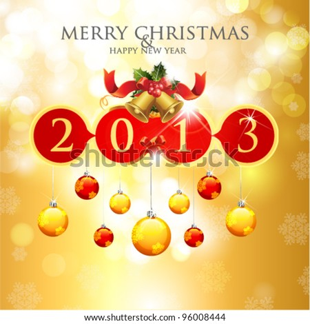 Merry Christmas & Happy New Year 2013 Card - stock vector