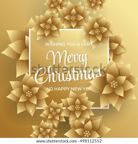 Merry Christmas. Happy New Year. Card. Gold Background.