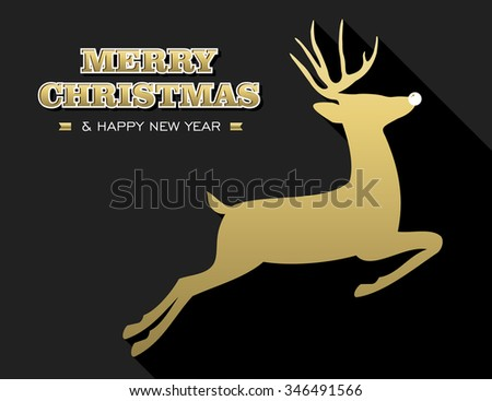 Merry Christmas Happy New Year design in gold and black with reindeer silhouette. Ideal for holiday greeting card, poster or web. EPS10 vector. - stock vector