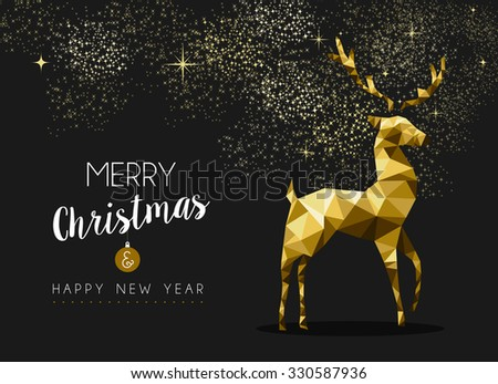 Merry christmas happy new year fancy gold deer shape in hipster origami style. Ideal for xmas card or elegant holiday party invitation. EPS10 vector. - stock vector