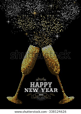 Merry Christmas Happy new year fancy gold drinking glasses making celebration toast in mosaic style. Ideal for holiday card or elegant party invitation. EPS10 vector.    - stock vector