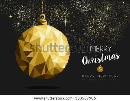 Merry christmas happy new year fancy gold ornament bauble shape in hipster origami style. Ideal for xmas card or elegant holiday party invitation. EPS10 vector. - stock vector