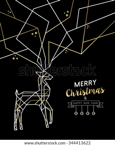 Merry Christmas Happy New Year gold and white deer outline art deco style antlers. Ideal for holiday greeting card, xmas poster or web. EPS10 vector. - stock vector