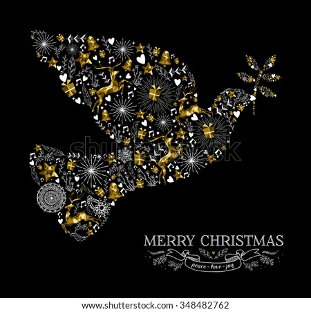 Merry Christmas Happy New Year greeting card design, holiday elements and reindeer in gold low poly style making peace dove bird shape silhouette. EPS10 vector. - stock vector