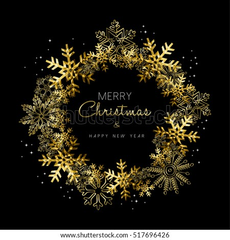 Merry Christmas Happy New Year greeting card design with gold snowflake wreath decoration for holiday season. EPS10 vector.