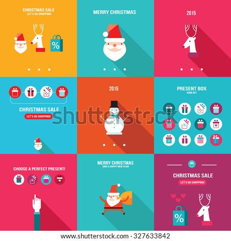 Merry Christmas Happy New Year Holiday banner set Flat design - stock vector