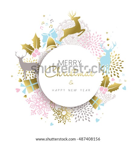 Merry Christmas happy new year illustration in gold color with deer, holiday luxury decoration and hand drawn elements. EPS10 vector.