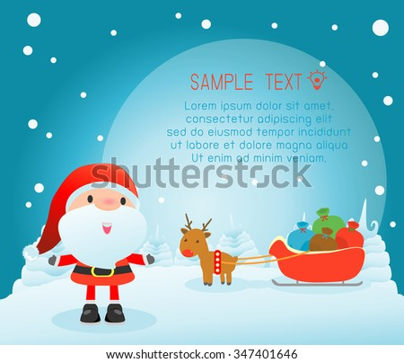 Merry Christmas, Happy new year, Merry Christmas design with wide copy space, Santa Claus,card, background card greeting, Vector Illustration - stock vector