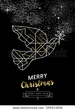 Merry Christmas Happy New Year peace dove in outline art deco geometry style, fancy gold and white design. Ideal for xmas greeting card, holiday poster or web. EPS10 vector.    - stock vector