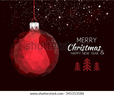 Merry christmas happy new year red ornament ball shape in hipster origami style. For xmas card or elegant holiday party invitation. Vector illustration. - stock vector