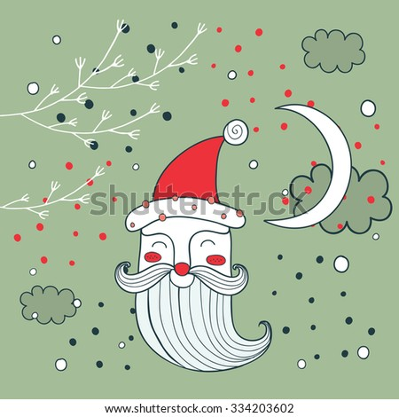 Merry Christmas Happy New Year Santa Claus greeting card background - stock vector