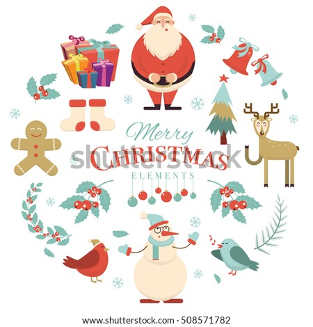 Merry Christmas holiday design elements. Xmas decorations and characters. Santa, snowman, deer, birds, ginger cookie, tree, gift box, socks, snowflake, holly berry, branch