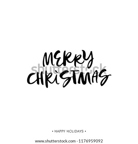 Merry christmas holiday greeting card calligraphy stock vector merry christmas holiday greeting card with calligraphy quote handwritten modern brush lettering phrase m4hsunfo
