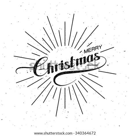 Merry Christmas. Holiday Vector Illustration. Lettering Composition With Light Rays - stock vector