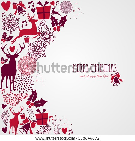 Merry Christmas holiday vintage elements and text background.Vector file organized in layers for easy editing. - stock vector