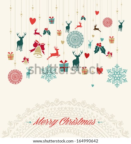 Merry Christmas holiday vintage hanging elements greeting card. Vector file organized in layers for easy editing. - stock vector